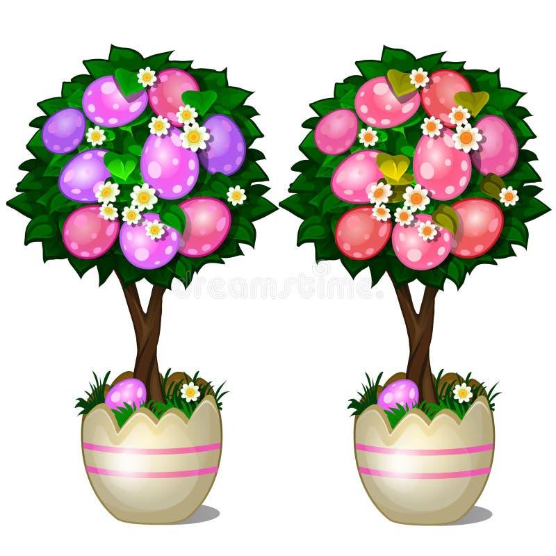 Dos árboles con las hojas y rojo y rosa mancharon los huevos de Pascua en potes estilizados de la cáscara Símbolo y decoración pa ilustración del vector