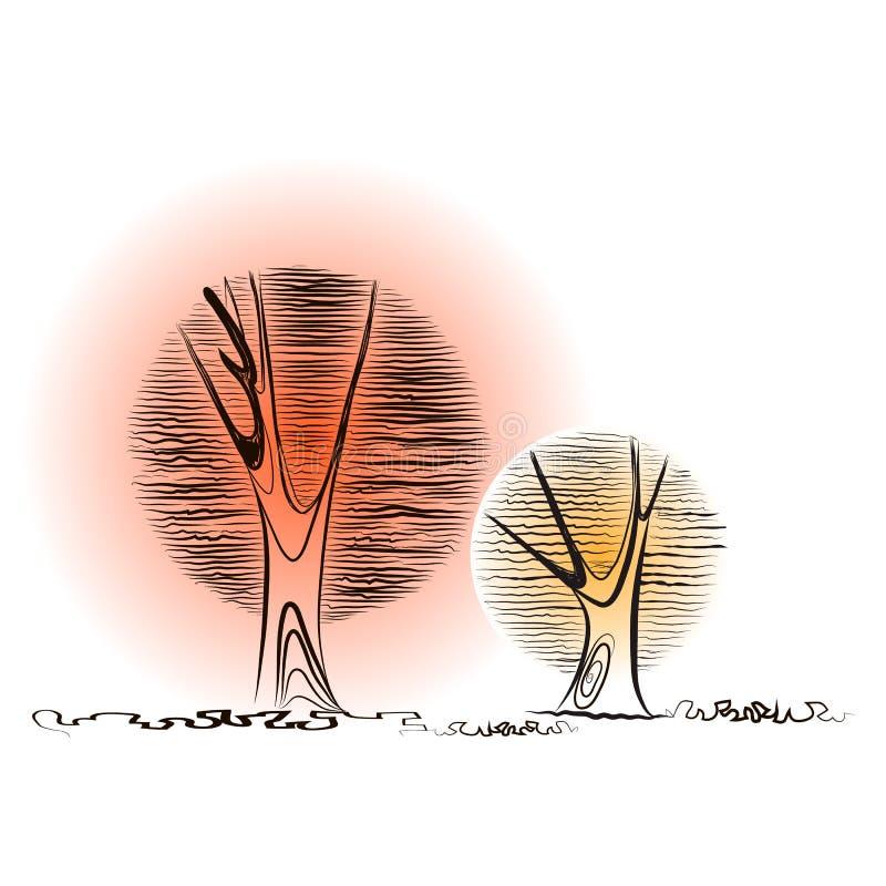Dos árboles creativos y coronas redondas para el fondo libre illustration