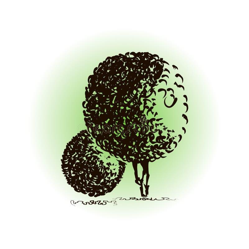 Dos árboles de la fantasía con las coronas redondas para el diseño libre illustration