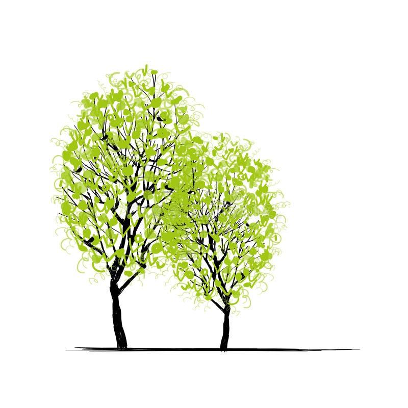Dos árboles de la primavera para su diseño ilustración del vector