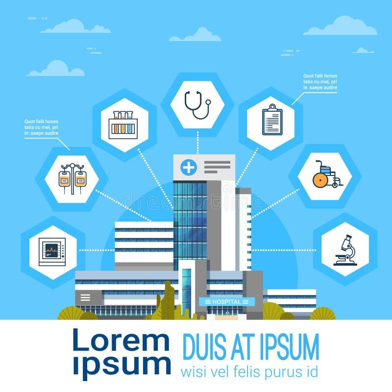 Dos ícones em linha do tratamento médico da relação da aplicação do hospital bandeira moderna do conceito da medicina com espaço  ilustração stock