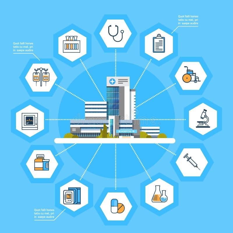 Dos ícones em linha do tratamento médico da relação da aplicação do hospital conceito moderno da medicina ilustração royalty free