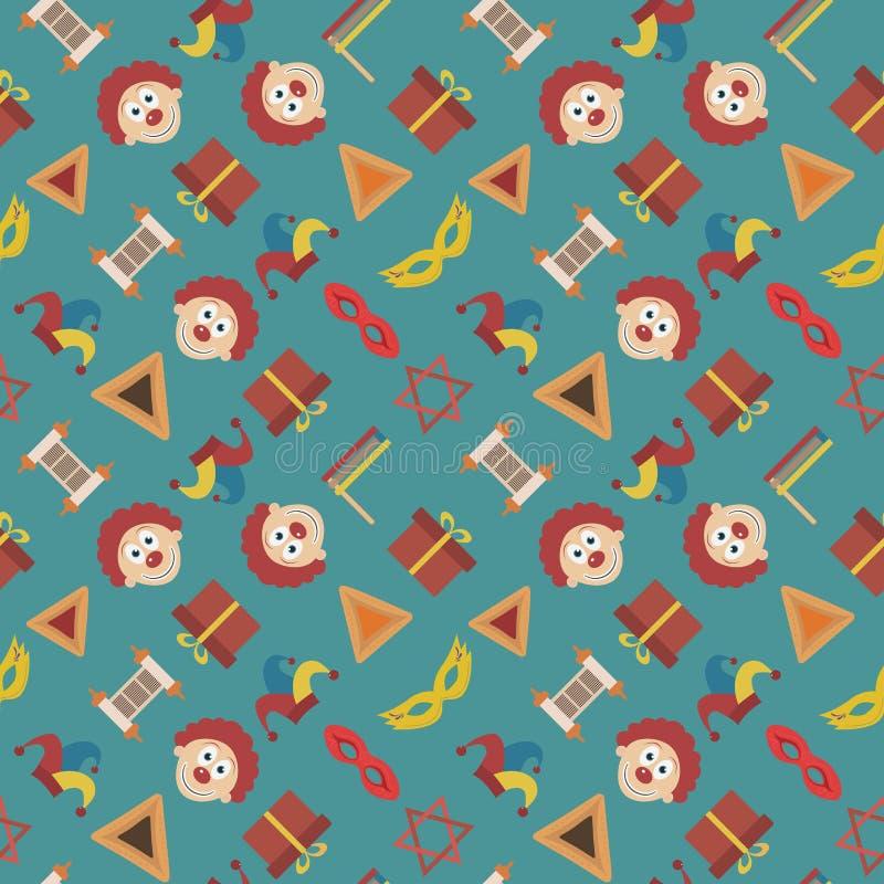 Dos ícones lisos do projeto do feriado de Purim teste padrão sem emenda ilustração royalty free