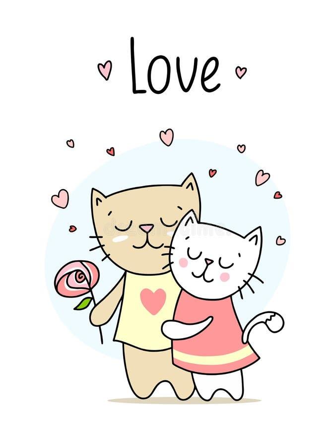 Dos abrazos y sonrisas cariñosos de los gatos Tarjeta feliz del ejemplo del vector del amor del día del ` s de la tarjeta del día libre illustration