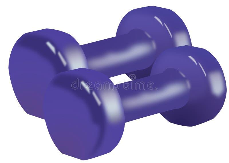 Dos aislaron las pesas de gimnasia púrpuras para el ejercicio en el fondo blanco ilustración del vector