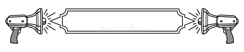 Dos altavoces y una bandera en blanco entre la línea fina plantilla blanco y negro para su mensaje libre illustration
