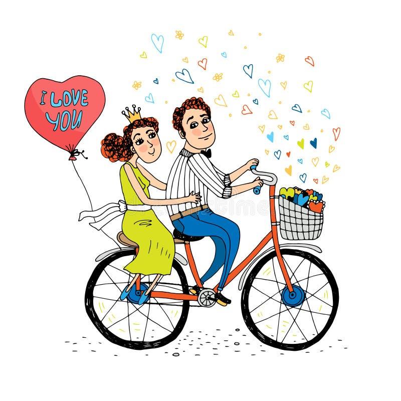 Dos amantes jovenes que montan una bicicleta en tándem ilustración del vector