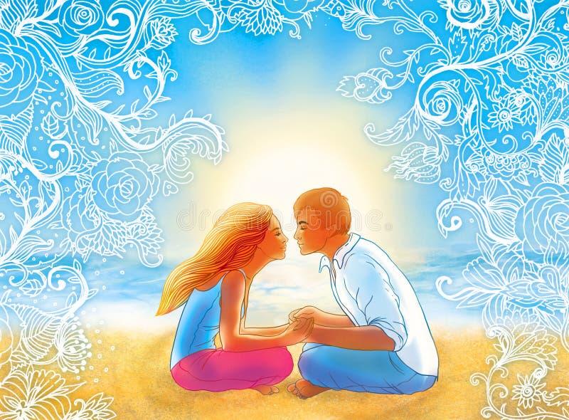 Dos amantes que se besan en la playa libre illustration