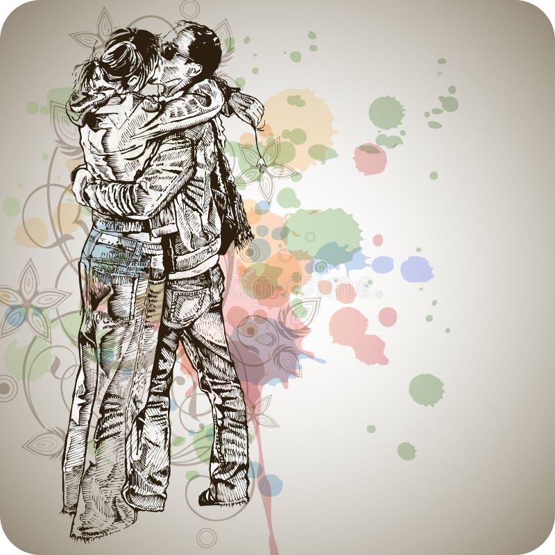 Dos amantes que se besan y caligrafía floral libre illustration