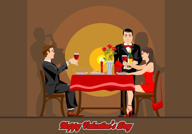 Dos amantes tienen una tarde romántica en un restaurante stock de ilustración