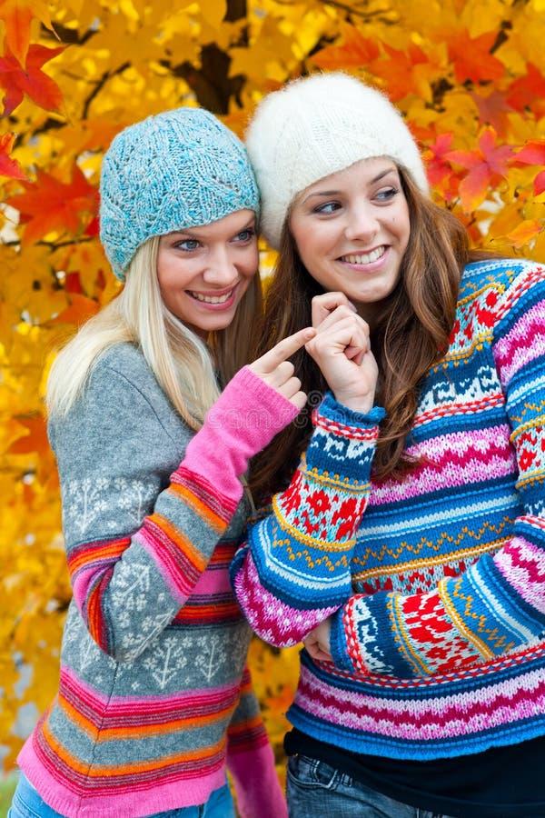 Dos amigos adolescentes de la mujer foto de archivo