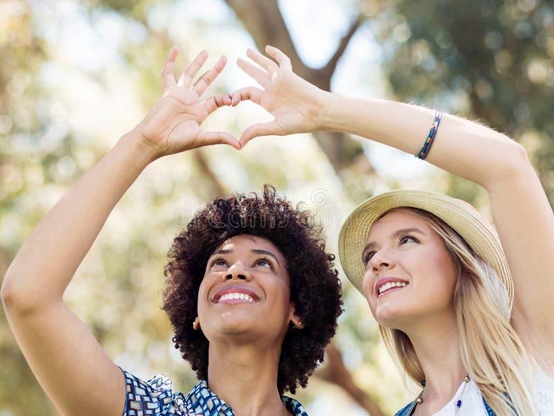 Dos amigos de las mujeres en parque fotos de archivo