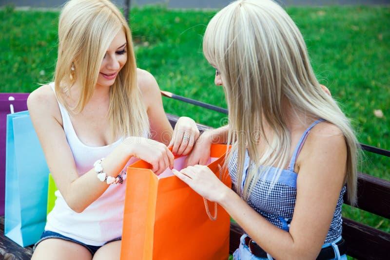 Dos amigos de muchacha hermosos con los bolsos de compras imagen de archivo