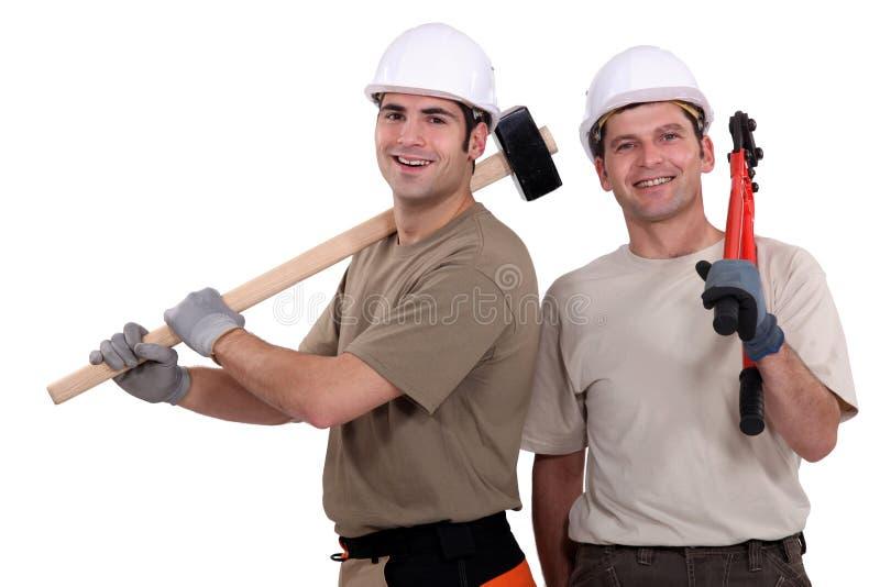 Dos amigos del constructor fotografía de archivo