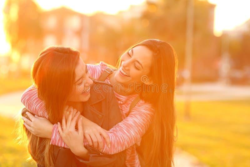 Dos amigos divertidos que se encuentran y que abrazan en un parque fotografía de archivo libre de regalías