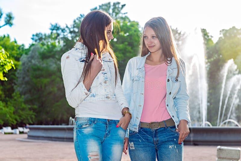 Dos amigos están caminando en el parque imagen de archivo libre de regalías