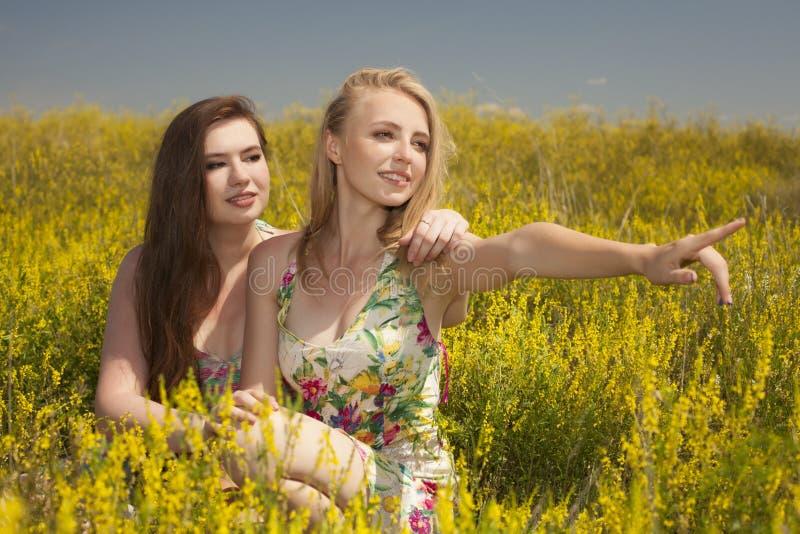 Dos amigos felices jovenes que localizan en hierba y sonrisa fotografía de archivo