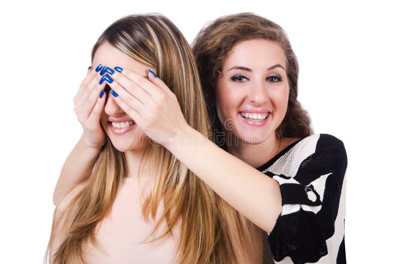 Dos amigos femeninos aislados foto de archivo