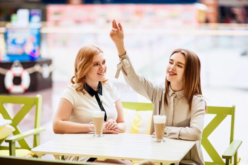 Dos amigos femeninos caucásicos que hablan en el café imagen de archivo