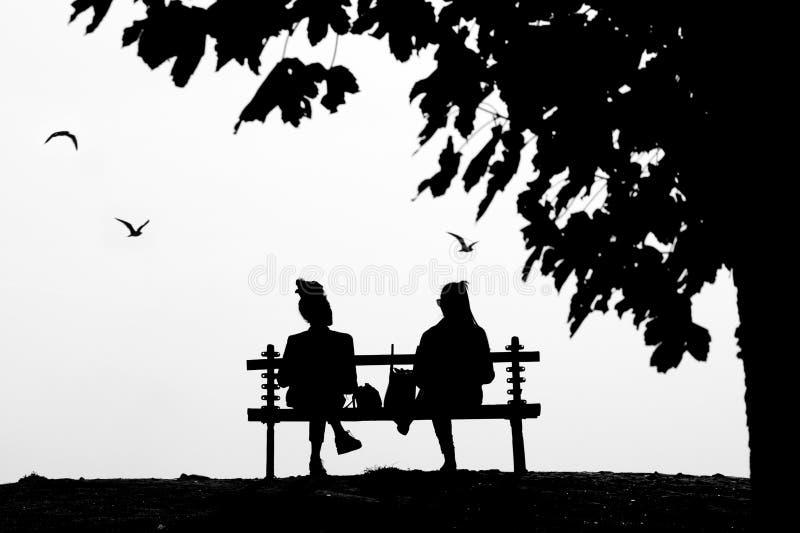 Dos amigos femeninos jovenes que hablan mientras que se sienta en un PA aislado imagenes de archivo