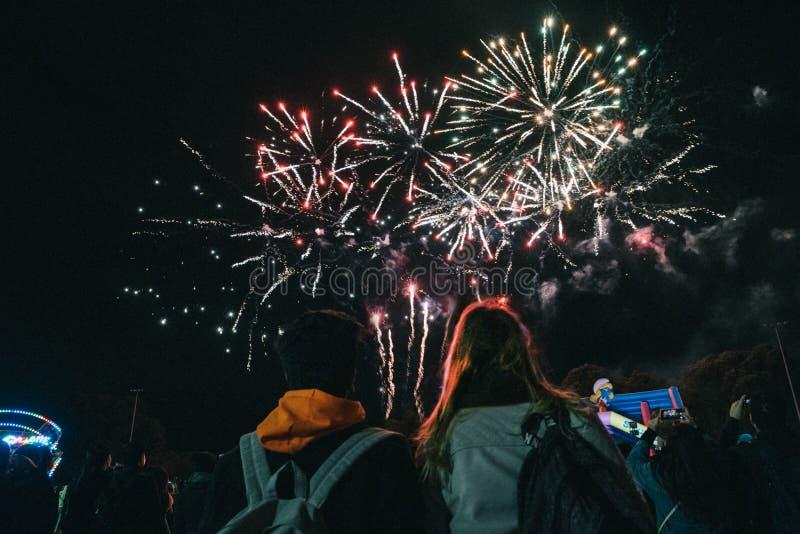 Dos amigos femeninos que gozan de los fuegos artificiales coloridos brillantes hermosos en el cielo nocturno fotografía de archivo libre de regalías
