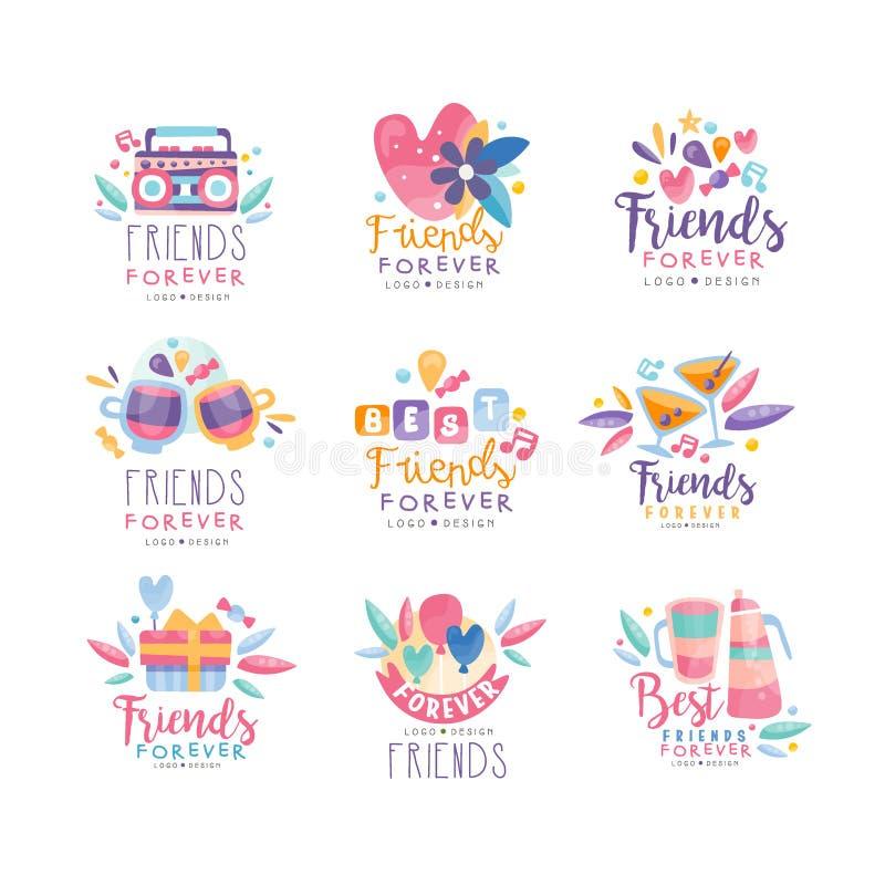Dos amigos o grupo do projeto do logotipo para sempre, crachás criativos do dia feliz da amizade pode ser usado para a bandeira,  ilustração stock