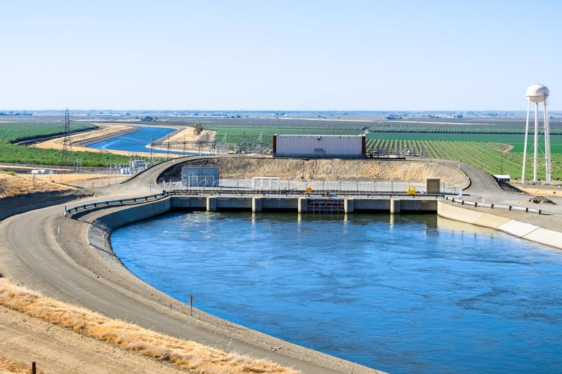 The `Dos Amigos` pumping plant, California. The `Dos Amigos` pumping plant pushes water up hill on the San Luis Canal, part of the California Aqueduct system stock photo