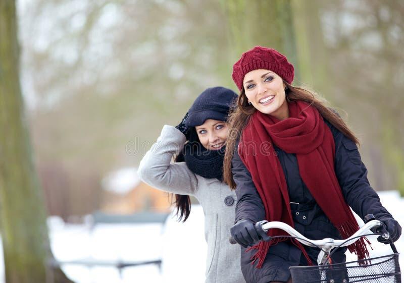 Dos amigos que disfrutan de las vacaciones del invierno al aire libre imagenes de archivo