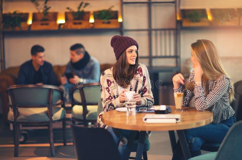 Dos amigos que gozan del café junto en una cafetería imágenes de archivo libres de regalías