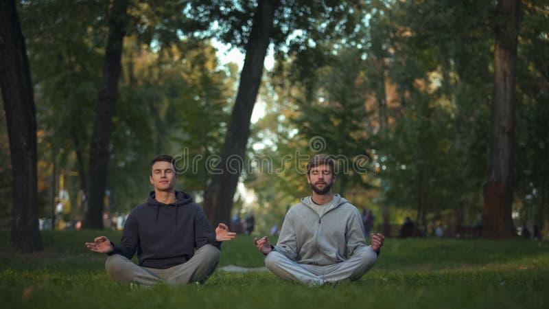 Dos amigos que meditan en Central Park, actitud del loto, asana de la yoga, búsqueda de la armonía foto de archivo libre de regalías