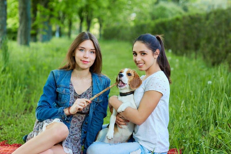 Dos amigos y beagles Mujer feliz joven dos, divirtiéndose en bergantín fotos de archivo libres de regalías