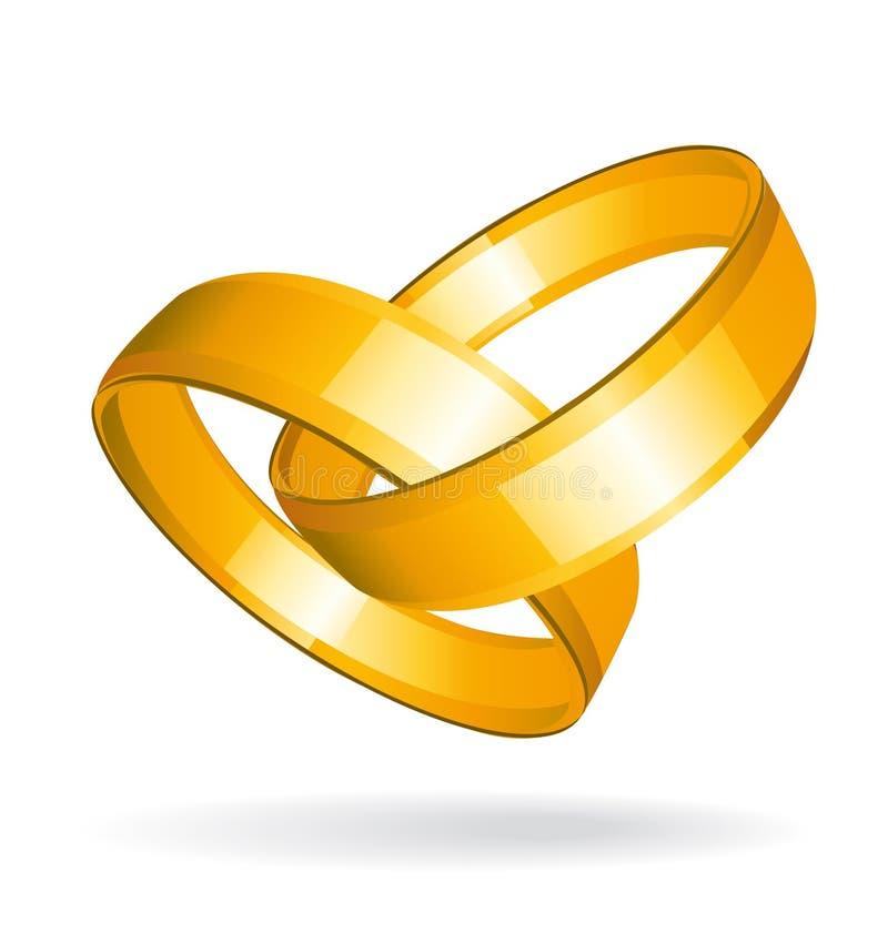 Dos anillos de bodas del oro stock de ilustración