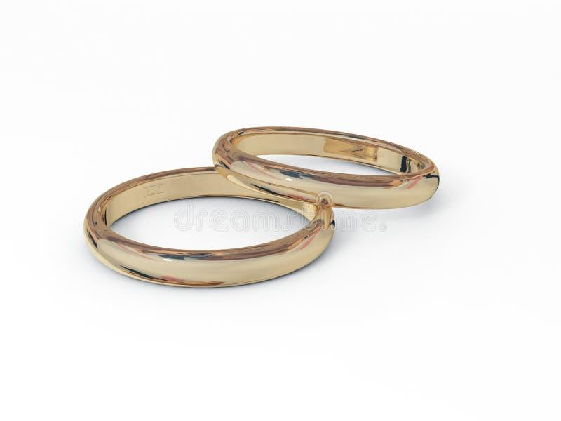Dos anillos de oro imágenes de archivo libres de regalías