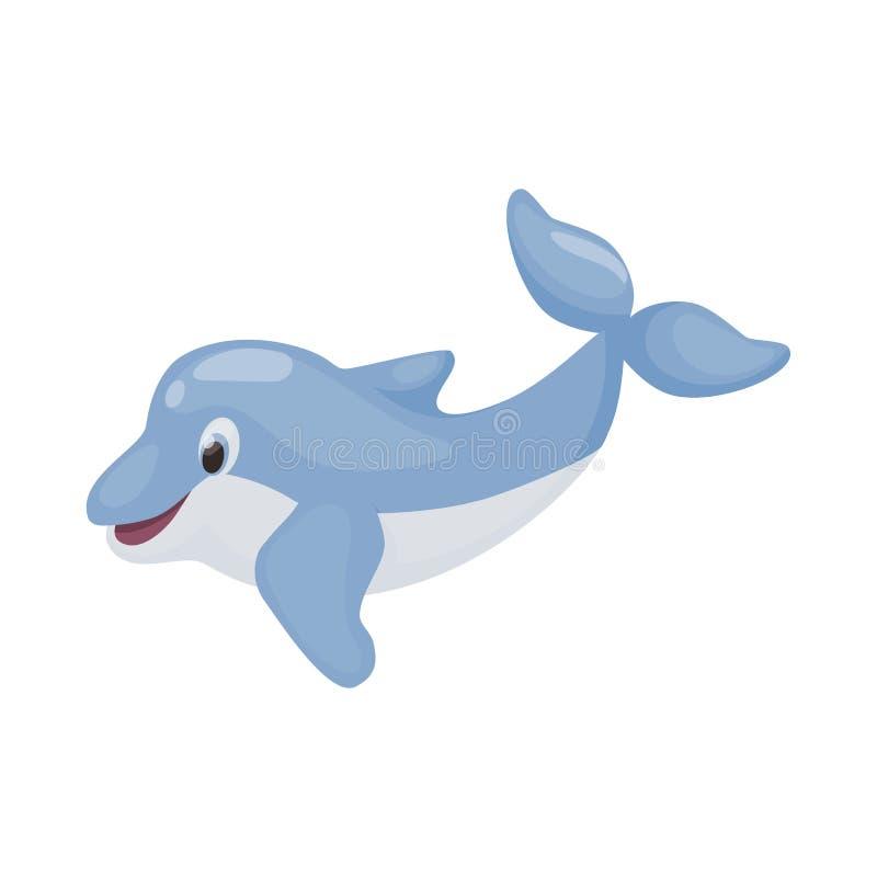 Dos animais selvagens animais engraçados do mamífero do oceano do divertimento da ilustração do vetor do caráter do golfinho peix ilustração royalty free