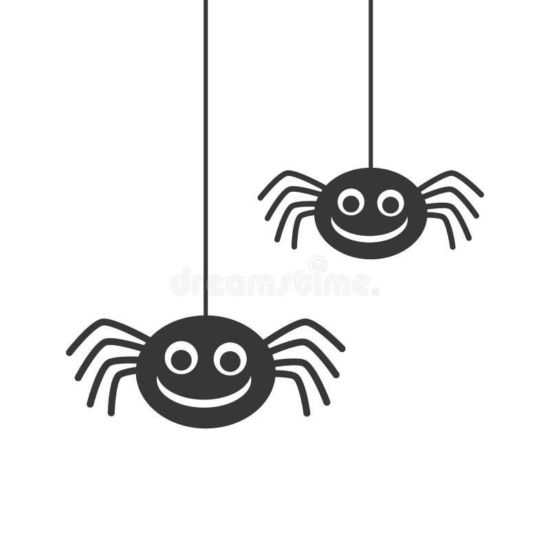 Dos arañas sonrientes de la silueta negra linda que cuelgan en el fondo blanco libre illustration
