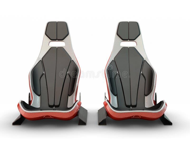 Dos asientos de cuero de la fibra de carbono que compiten con ilustración del vector