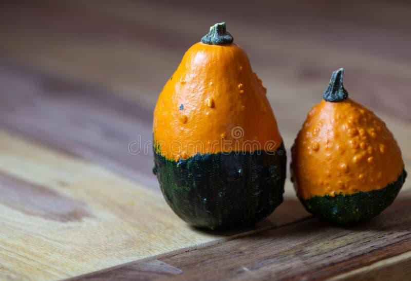 Dos asimientos de las calabazas, anaranjados y verdes, diversos, en una tabla, como dos amigos imágenes de archivo libres de regalías