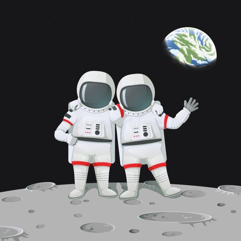 Dos astronautas con las manos en los hombros que se colocan en la luna emergen stock de ilustración