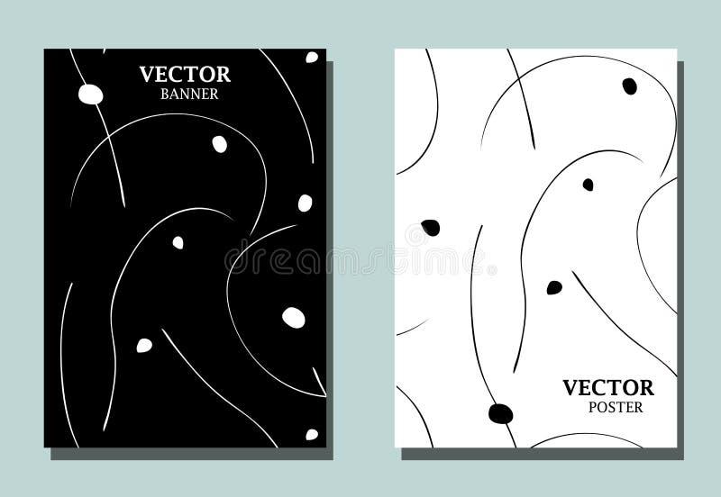 Dos aviadores abstractos con las líneas y los puntos ondulados que fluyen Papel pintado monocromático con desing minimalistic ilustración del vector