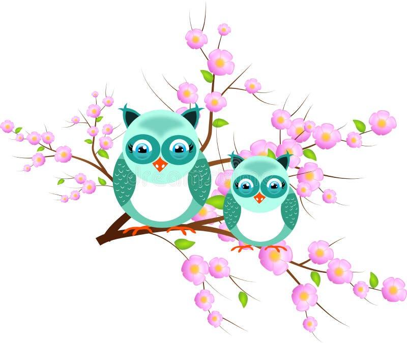 Dos búhos azules en árbol rosado ilustración del vector