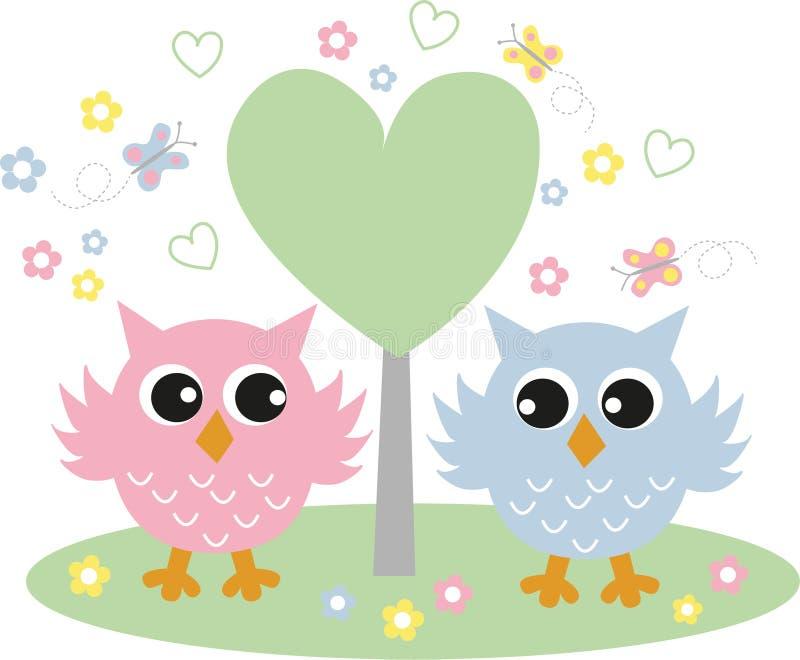 Dos búhos dulces en amor libre illustration