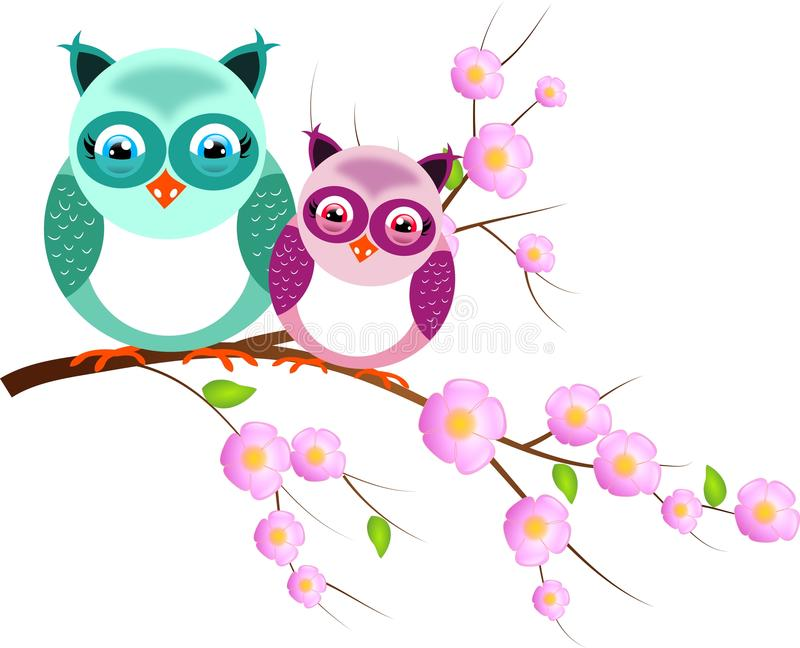 Dos búhos en la ramita del árbol stock de ilustración