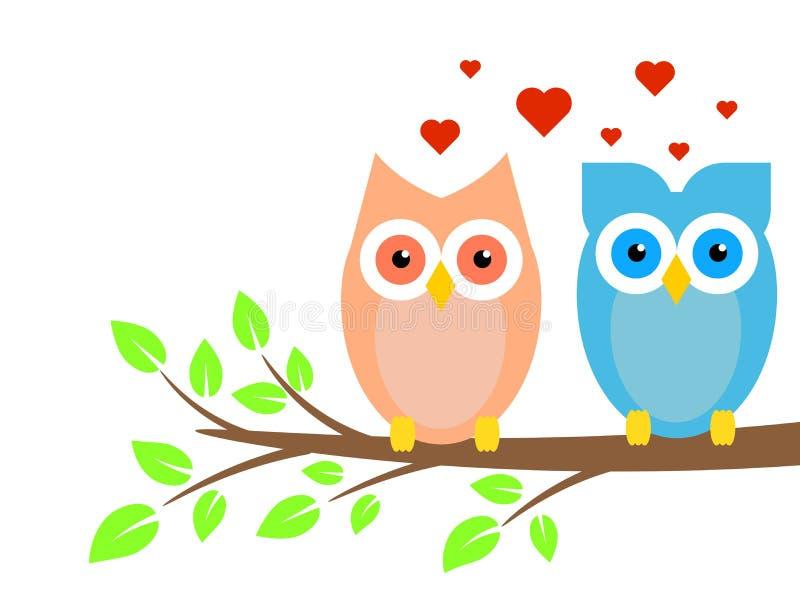 Dos búhos lindos muchacho y muchacha en amor en árbol ilustración del vector
