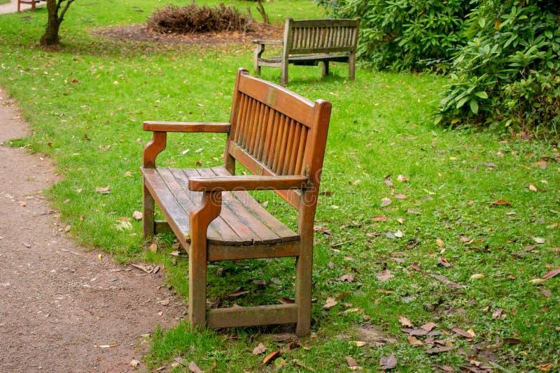 Dos bancos de madera en parque fotografía de archivo libre de regalías