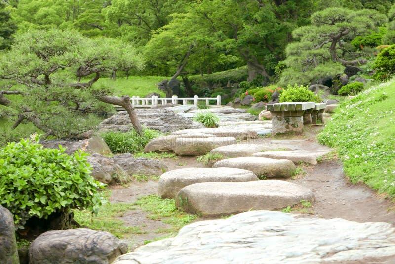Dos bancos, plantas verdes, flores, camino de piedra y lago en Garde imagen de archivo libre de regalías