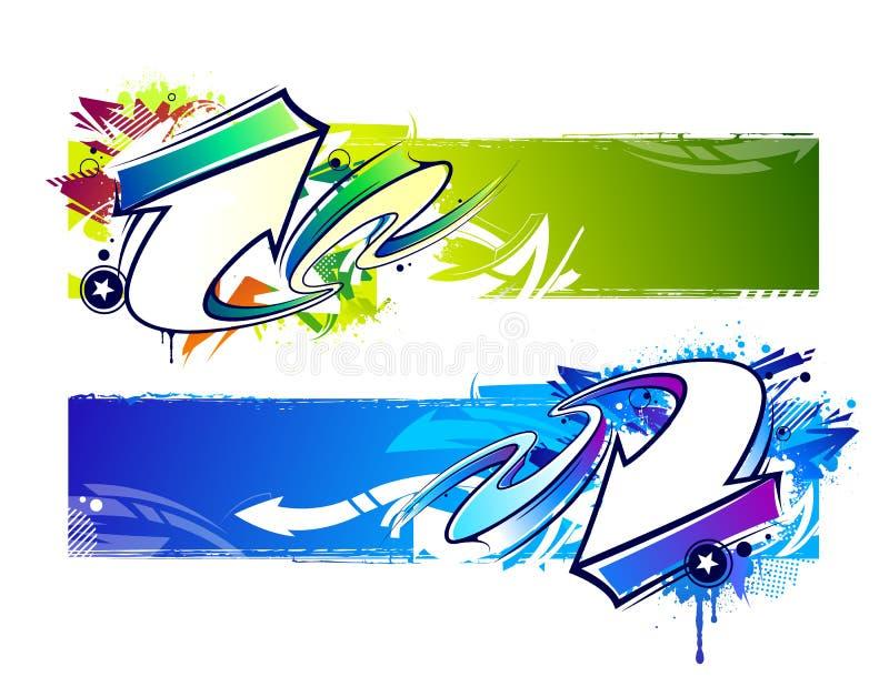 Dos banderas abstractas de la pintada ilustración del vector
