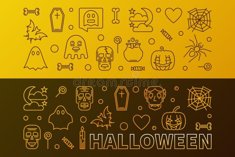 Dos banderas coloridas del esquema del vector horizontal de Halloween ilustración del vector