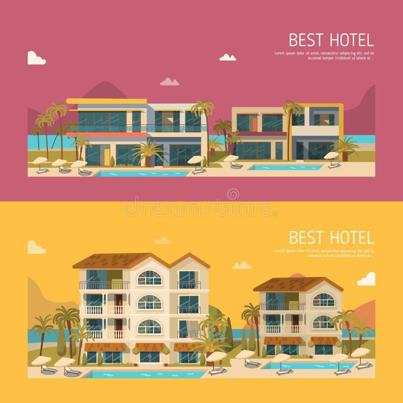Dos banderas con el edificio del hotel ilustración del vector