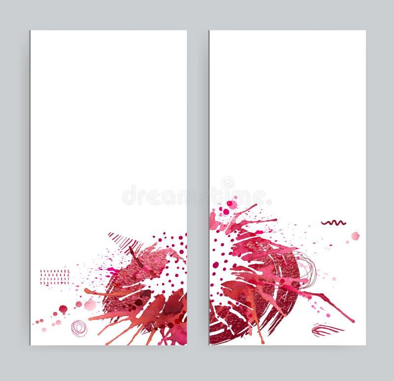 Dos banderas con imágenes eclécticas abstractas Manchas brillantes, manchas blancas /negras del rojo, formas de la textura y elem stock de ilustración