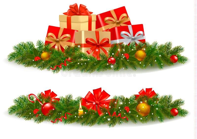 Dos banderas de la Navidad con los rectángulos de regalo. stock de ilustración